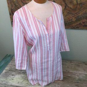 Rabalder Sweden 100% Linen tunic red white stripe